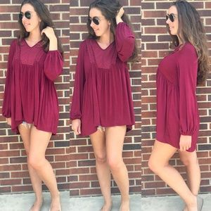 Suzanne Betro | Oversized Tunic in Maroon